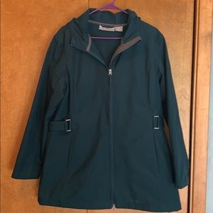 EUC Women's fleece lined teal raincoat - size XL